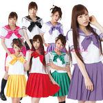 セーラー服(半袖)・リボン・ミディアム丈スカート 紫(衣装・コスチューム)