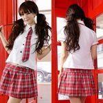 赤いチェックのスウィートスクールガール(衣装・コスチューム)