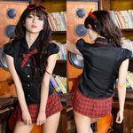 パフ袖×マイクロミニの赤チェック制服(衣装・コスチューム)