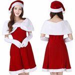 上品にまとめたサンタケープ風クリスマスコスチューム(サンタ帽子付き)(衣装・コスチューム)