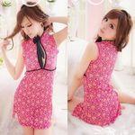 黒リボン付き・ピンク花柄レースのチャイナドレス(衣装・コスチューム)