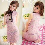 黒リボン・ピンクの花柄シースルーチャイナドレス(衣装・コスチューム)