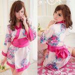 大きめリボン×ピンクの花柄のセクシーミニ着物(衣装・コスチューム)
