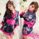 黒×ピンク・大きなリボンが可愛い艶やかミニ着物(衣装・コスチューム)