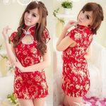 赤×金・ゴージャスな半袖チャイナドレス(衣装・コスチューム)