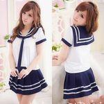 ネイビー×ホワイト・爽やかなマリン風セーラー服(衣装・コスチューム)