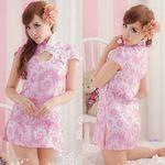 スウィートピンクのキュートな半袖チャイナドレス(衣装・コスチューム)