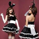 黒×白・ふんわりボリュームスカートのバニーワンピース(衣装・コスチューム)
