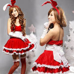 赤×白・ふんわりボリュームスカートのバニーワンピース(衣装・コスチューム)