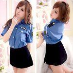 肩ロープ付き・タイトスカートがセクシーなミニスカ婦人警官(衣装・コスチューム)