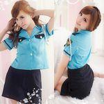 肩ロープ付き・爽やかブルーのミニスカ婦人警官(衣装・コスチューム)