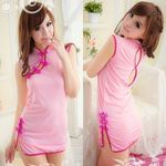 バックスタイルがセクシーなピンクのミニチャイナ(衣装・コスチューム)