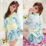 ブルー×イエロー・大きな花柄の着物風セパレートミニドレス(衣装・コスチューム)