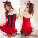 黒×赤・角カチューシャ付きのキュートなデビルワンピ(衣装・コスチューム)
