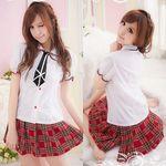 ネクタイ付き・赤チェックのミニスカスクール制服(衣装・コスチューム)