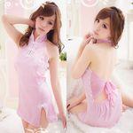 バックシフォンリボン・ピンクノースリーブミニチャイナ(衣装・コスチューム)