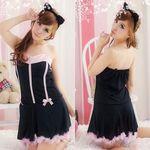 猫耳付き・黒×ピンクの小悪魔風セクシーキャットワンピ(衣装・コスチューム)