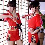 ミニ着物風・赤いシースルーのスリットドレス(衣装・コスチューム)