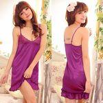 裾フリル・エレガントな紫スリップ&ショーツ(下着)