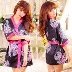 黒×ピンク・リボンで結ぶ艶やかミニ着物(衣装・コスチューム)