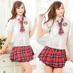 ネクタイ付き・赤×紺チェックのラブリー制服(衣装・コスチューム)