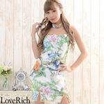 <Love Rich>チューブトップ フラワーパワーネットミニチャイナドレス 衣装 キャバドレス (ホワイト)(衣装・コスチューム)