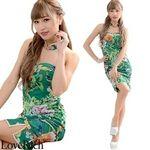 <Love Rich>チューブトップ フラワーパワーネットミニチャイナドレス 衣装 キャバドレス (グリーン)(衣装・コスチューム)