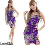 <Love Rich>チューブトップ フラワーパワーネットミニチャイナドレス 衣装 キャバドレス (パープル)(衣装・コスチューム)