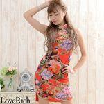 <Love Rich>胸開きフラワーパワーネットミニチャイナドレス 衣装 キャバドレス (レッド)(衣装・コスチューム)