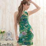 <Love Rich>フラワーパワーネットミニチャイナドレス 衣装 キャバドレス (グリーン)(衣装・コスチューム)