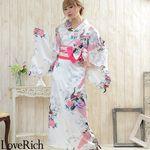 <Love Rich>孔雀サテン和柄ロング花魁着物ドレス キャバドレス コスチューム (白)(衣装・コスチューム)