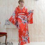 <Love Rich>孔雀サテン和柄ロング花魁着物ドレス キャバドレス コスチューム (赤)(衣装・コスチューム)