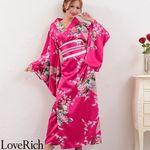 <Love Rich>孔雀サテン和柄ロング花魁着物ドレス キャバドレス コスチューム (チェリーピンク)(衣装・コスチューム)