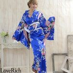 <Love Rich>孔雀サテン和柄ロング花魁着物ドレス キャバドレス コスチューム (ロイヤルブルー)(衣装・コスチューム)