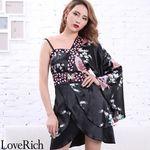 <Love Rich>バタフライブローチ付き花柄ワンショルミニ花魁着物ドレス (ブラック)(衣装・コスチューム)