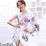 <Love Rich>バタフライブローチ付き花柄ワンショルミニ花魁着物ドレス (ホワイト)(衣装・コスチューム)
