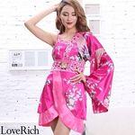 <Love Rich>バタフライブローチ付き花柄ワンショルミニ花魁着物ドレス (チェリーピンク)(衣装・コスチューム)