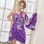<Love Rich>バタフライブローチ付き花柄ワンショルミニ花魁着物ドレス (パープル)(衣装・コスチューム)