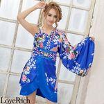 <Love Rich>バタフライブローチ付き花柄ワンショルミニ花魁着物ドレス (ロイヤルブルー)(衣装・コスチューム)