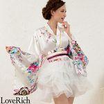 <Love Rich>サテン和柄豪華花魁ミニ着物チュールドレス 和柄 花魁 キャバドレス (ホワイト)(衣装・コスチューム)