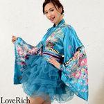 <Love Rich>サテン和柄豪華花魁ミニ着物チュールドレス 和柄 花魁 キャバドレス (ブルー)(衣装・コスチューム)