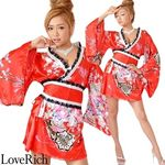 <Love Rich>レースリボンサテン和柄ミニ花魁着物ドレス (赤)(衣装・コスチューム)