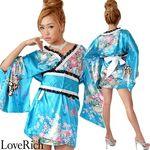 <Love Rich>レースリボンサテン和柄ミニ花魁着物ドレス (ブルー)(衣装・コスチューム)