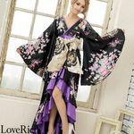 <Love Rich>サテン和柄フリルロング着物ドレス 衣装 花魁 キャバドレス (ブラック)(衣装・コスチューム)