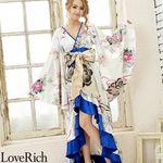 <Love Rich>サテン和柄フリルロング着物ドレス 衣装 花魁 キャバドレス (ホワイト)(衣装・コスチューム)