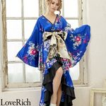 <Love Rich>サテン和柄フリルロング着物ドレス 衣装 花魁 キャバドレス (ロイヤルブルー)(衣装・コスチューム)