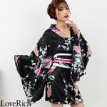 <Love Rich>サテン和柄豪華花魁ミニ着物ドレス 和柄 花魁 キャバドレス (黒)(衣装・コスチューム)