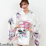 <Love Rich>サテン和柄豪華花魁ミニ着物ドレス 和柄 花魁 キャバドレス (白)(衣装・コスチューム)