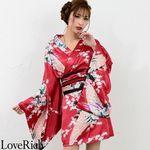 <Love Rich>サテン和柄豪華花魁ミニ着物ドレス 和柄 花魁 キャバドレス (ワイン)(衣装・コスチューム)