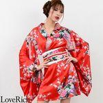 <Love Rich>サテン和柄豪華花魁ミニ着物ドレス 和柄 花魁 キャバドレス (赤)(衣装・コスチューム)